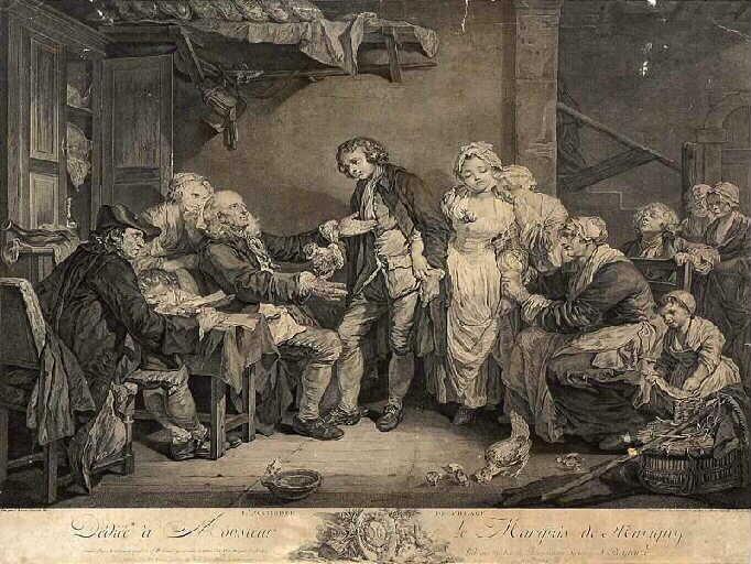 GREUZE Jean-Baptiste (d'après), FLIPART Jean-Jacques : L'Accordée de village
