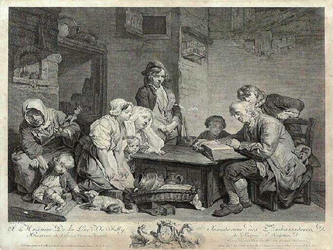 GREUZE Jean-Baptiste, MARTENASIE Pieter Franciscus, MARTENISIE Pieter Franciscus : Le Père de famille lisant la Bible