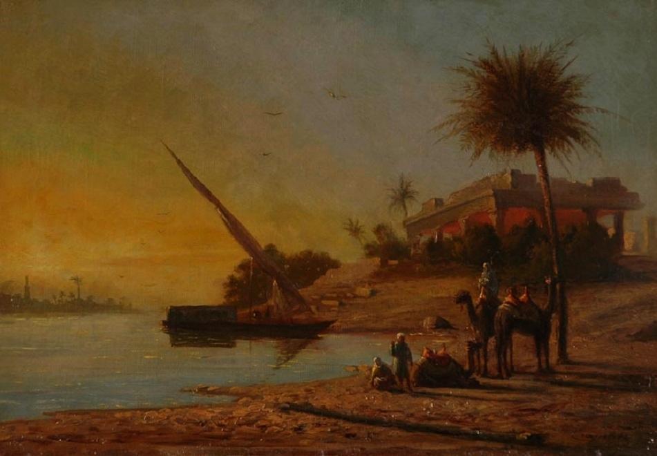 CRAPELET Amable Louis : Rive du Nil, paysage d'Orient
