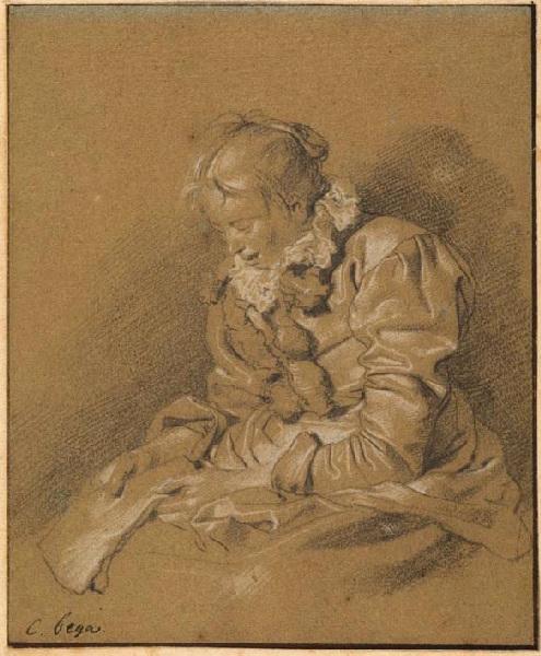 Femme assise tenant une lettre sur les genoux_0