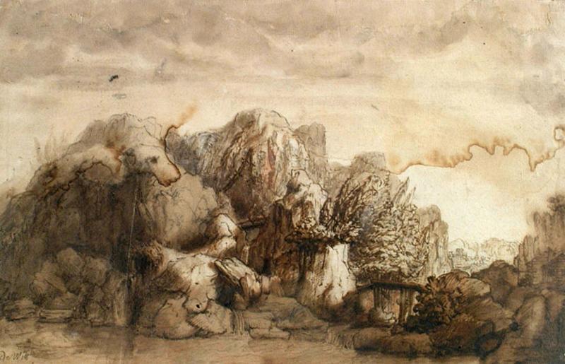 Rochers et cascades (recto) ; Paysage (verso)_0