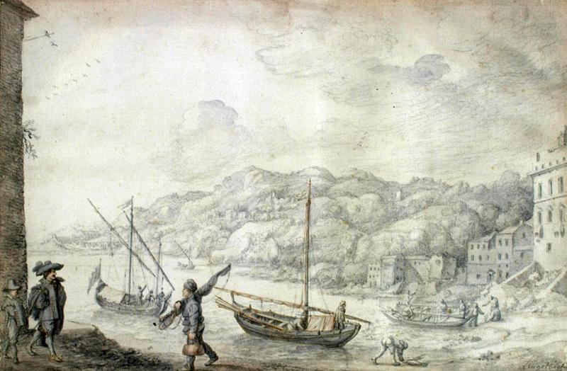 Port Levantin ; Paysage marine avec figures ; Paysage_0
