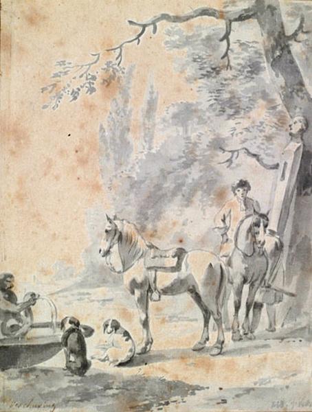 Cavaliers près d'une fontaine_0