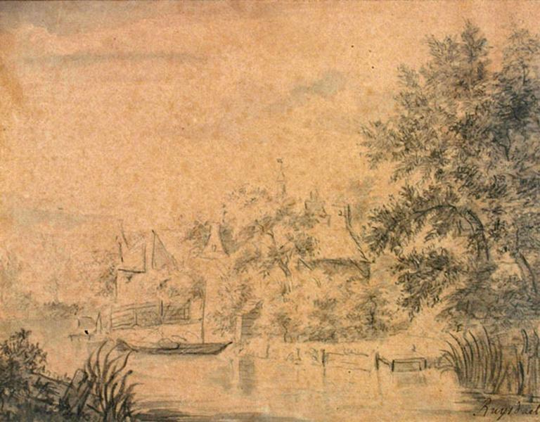 Maisons au bord d'un canal ; Paysage (autre titre)_0