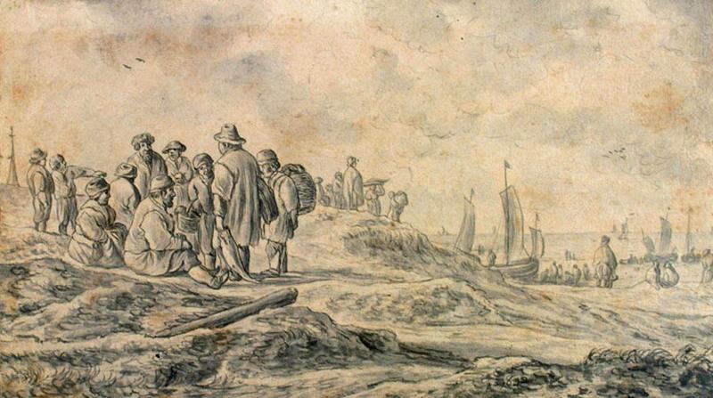 Pêcheurs sur les bords de la mer ; Retour de la pêche, marine (autre titre)_0