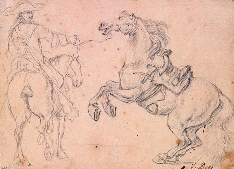 Un cavalier tenant un cheval qui se cabre_0