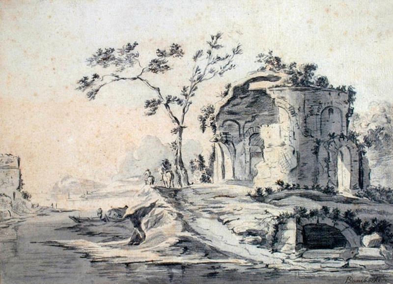 Paysage : ruine d'un temple de la villa Adriana_0