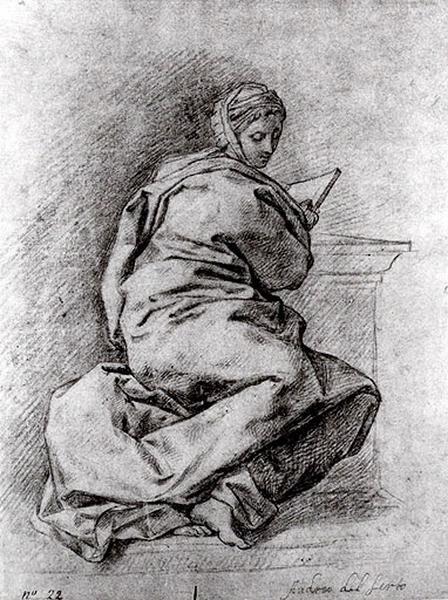 Femme drapée tenant un livre (recto) ; Une sibylle (verso)_0
