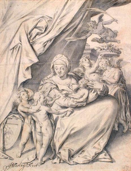 La Vierge et l'Enfant avec des anges_0