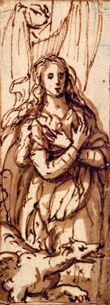 Sainte Marguerite ; Figure de femme avec un dragon_0