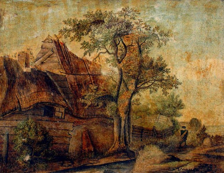 Maison au bord d'un chemin avec une figure ; Paysage_0