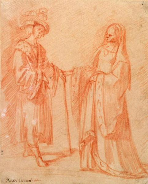 Homme et femme appuyés sur un bâton_0