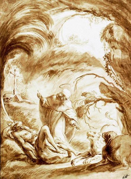 Deux lions aidant Saint Antoine Abbé à enterrer le corps de Saint Paul Ermite_0