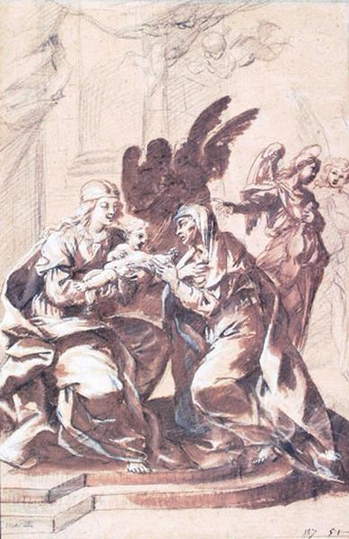 La Vierge, l'Enfant Jésus, une sainte et des anges_0