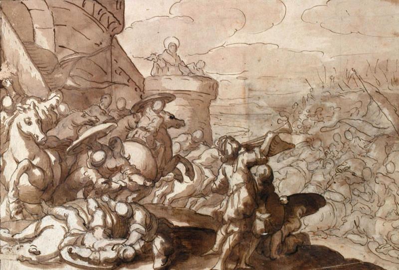Recto ; Combat devant les murs d'une ville ; verso : Femme_0