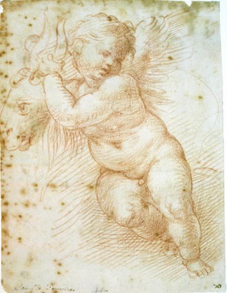 Recto : Enfant tenant une chèvre ; verso : Deux études d'hommes nus, sans tête_0