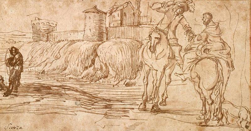 Un homme et une femme à cheval dans un paysage_0