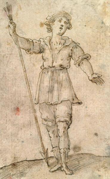 Jeune homme tenant une lance_0