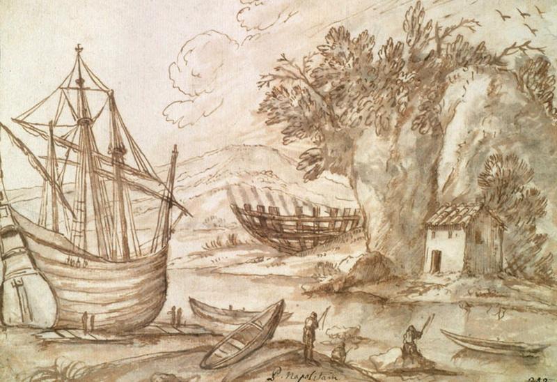 Bateaux au bord d'une rivière_0