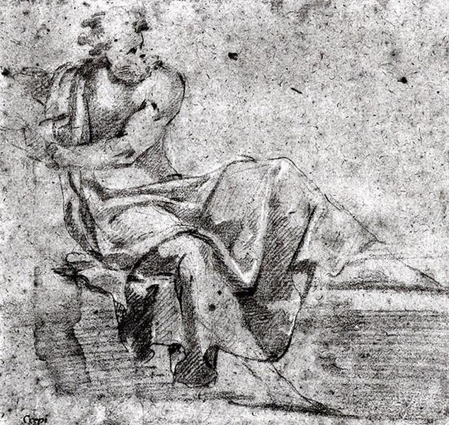 Homme assis et drapé_0