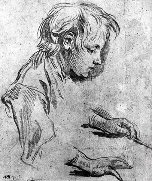 Tête d'enfant, étude de mains_0