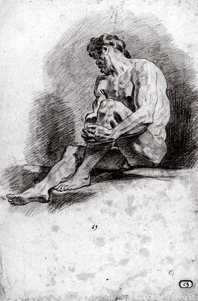 Homme assis, la jambe gauche relevée (recto) ; Tête d'homme (verso)_0