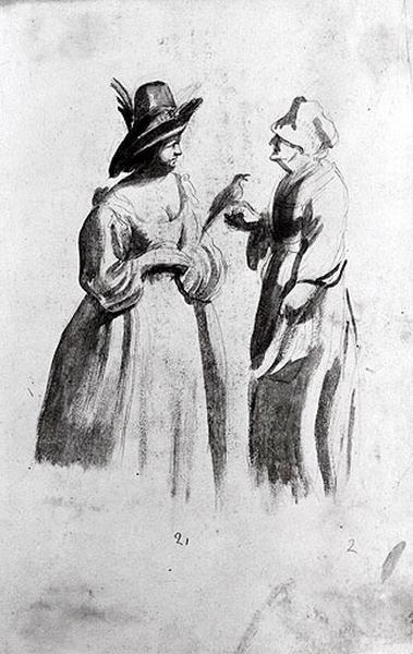 Etude de deux femmes, l'une tenant un oiseau_0