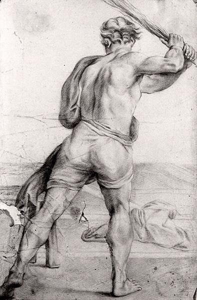 Etude d'un homme de dos tenant une massue_0