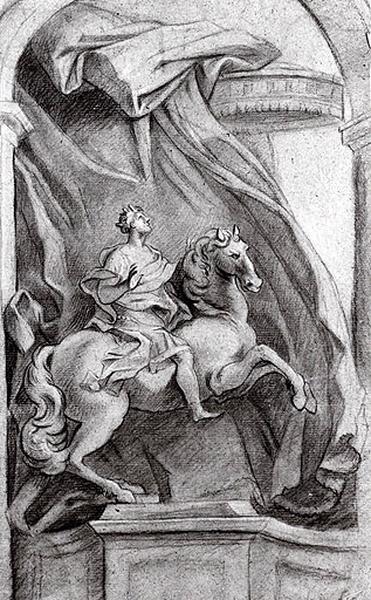 Etude d'une statue équestre sur fond drapé, dans une niche_0