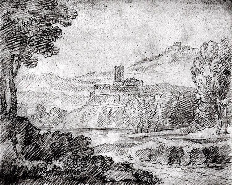 Paysage avec des bâtiments au dessus d'un étang (recto) ; Feuille d'étude (verso)_0