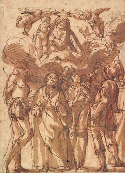 La Vierge au ciel, saints en adoration_0