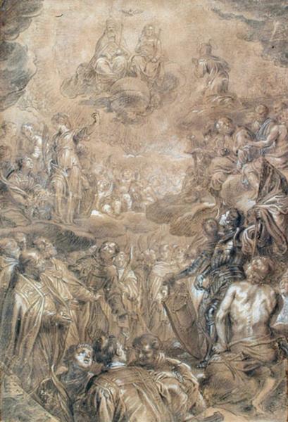 La Sainte Trinité et saints en adoration (D'après La Toussaint de Rubens (musée de Rotterdam))_0