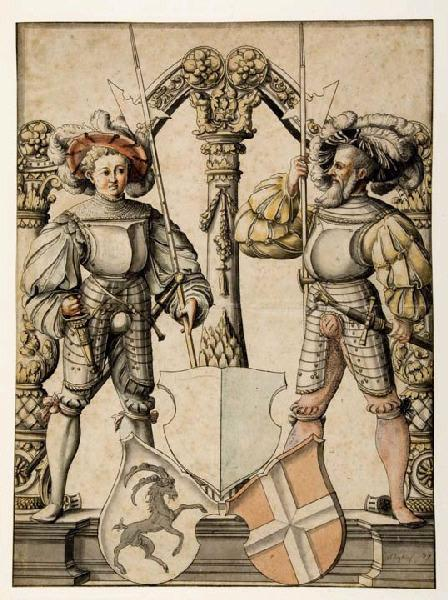 Deux hommes armés servant de support à des armoiries_0