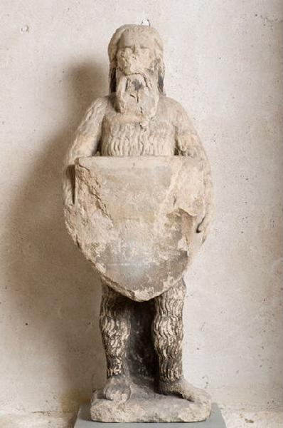 Homme sauvage tenant un écu (Sur le petit registre du catalogue ancien par matière : 'Esaü portant un écusson')