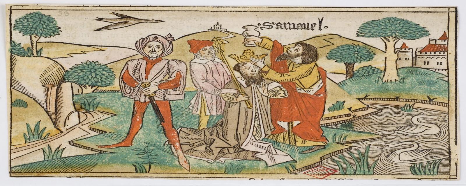 MAITRE DES BIBLES DE COLOGNE (graveur, inventeur), QUENTELL Heinrich (imprimeur) : Onction de Saül par Samuel