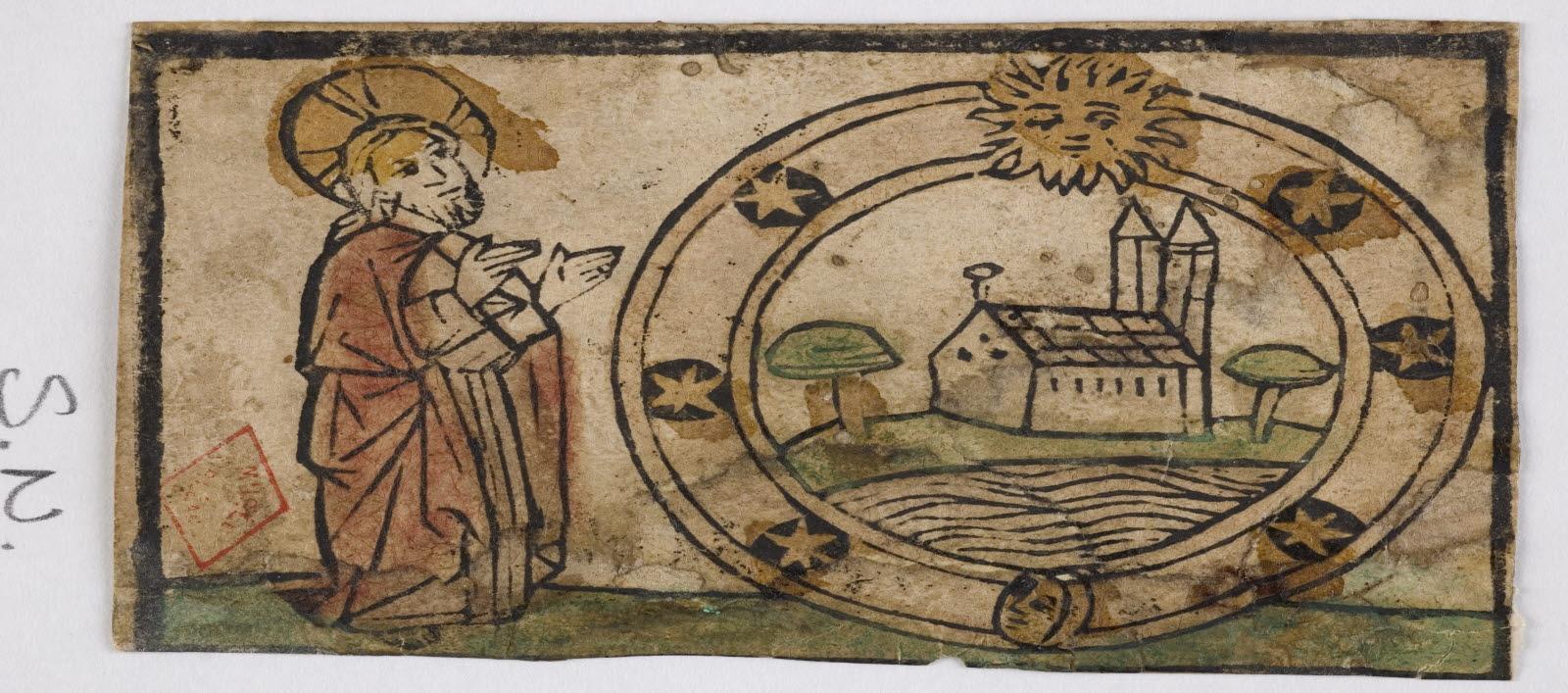 anonyme (graveur) : Le Christ et une église dans un cercle étoilé