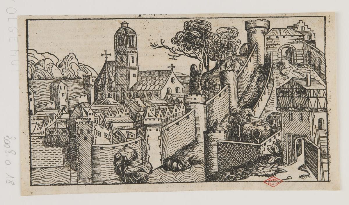 KOBERGER Anton (imprimeur), PLEYDENWURFF Wilhelm (inventeur, d'après, graveur), WOLGEMUT Michael (graveur, inventeur, d'après) : Ville fortifiée