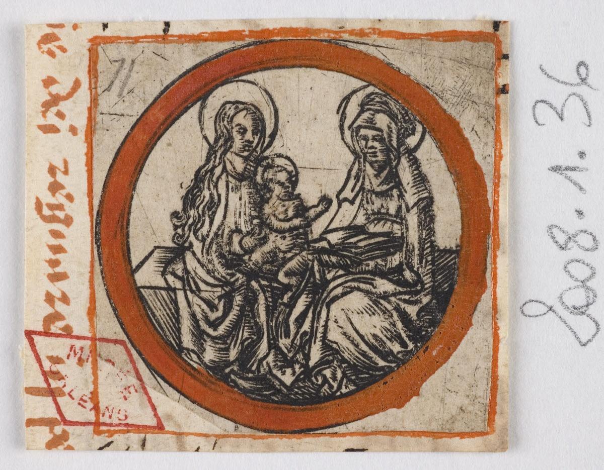 anonyme (graveur) : La Vierge à l'Enfant et sainte Anne