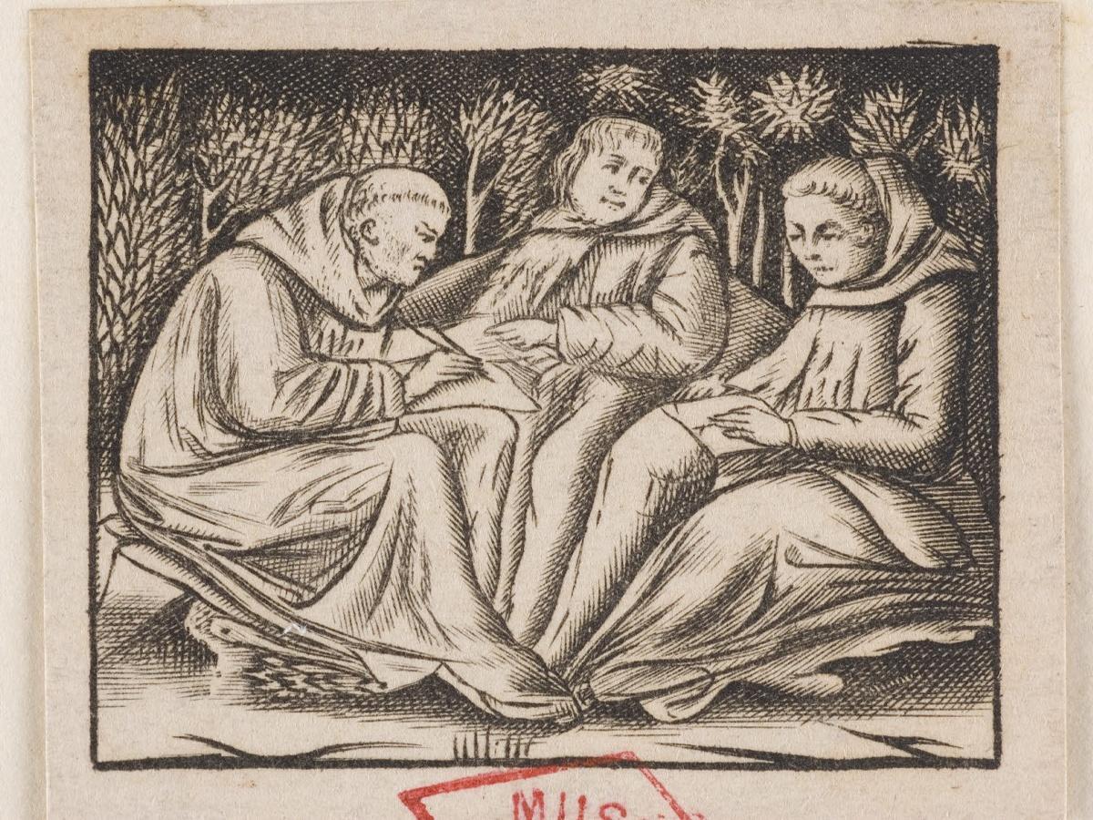 anonyme (graveur) : Trois moines assis