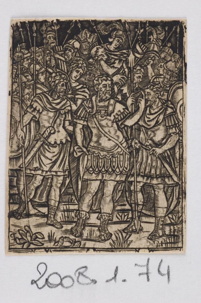 anonyme (inventeur, graveur) : Un général romain s'adressant à ses troupes