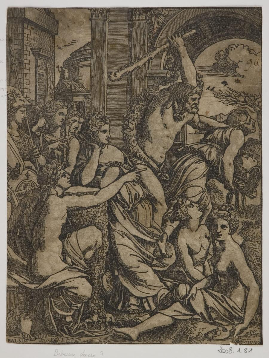 CARPI Ugo da (graveur), PERUZZI Baldassare (inventeur) : Hercule chassant l'Avarice du temple des Muses