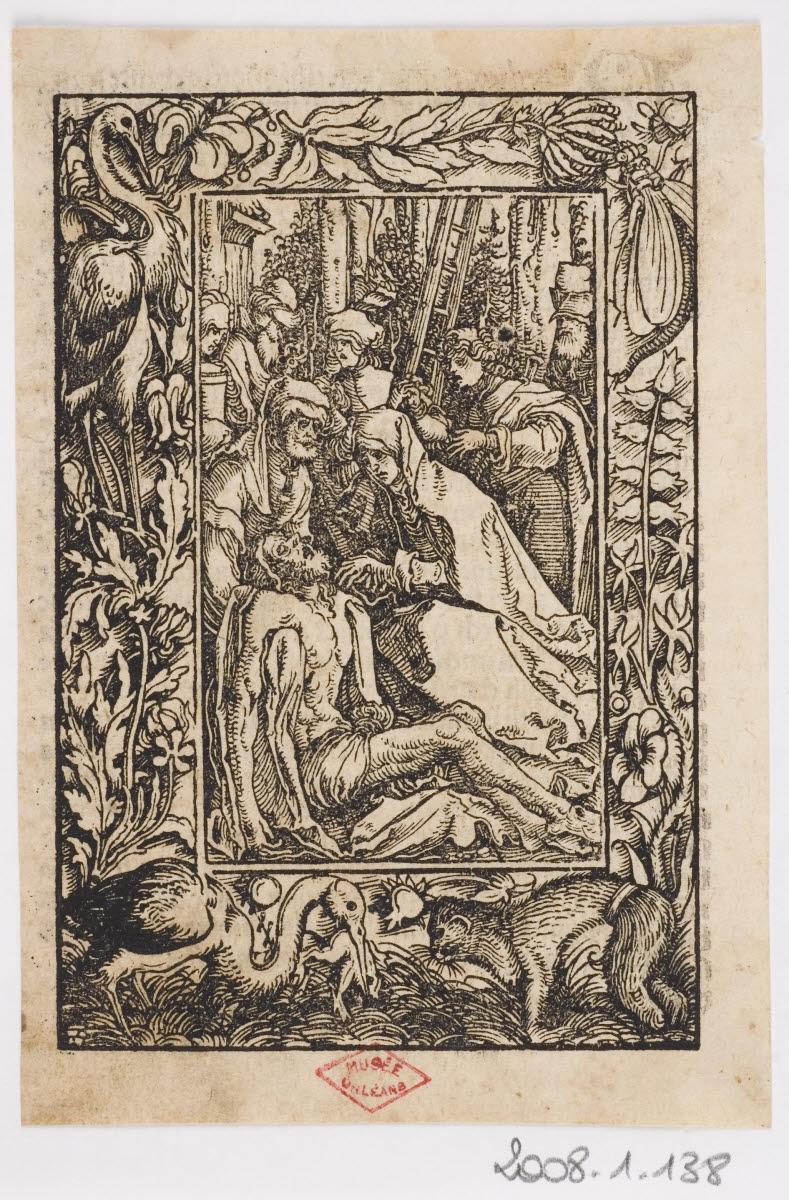 EGENOLFF Christian (imprimeur), GRIMM Sigmund (imprimeur), WEIDITZ Hans I (graveur, inventeur, d'après), WIRSUNG Marx (imprimeur) : Lamentation sur le corps du Christ