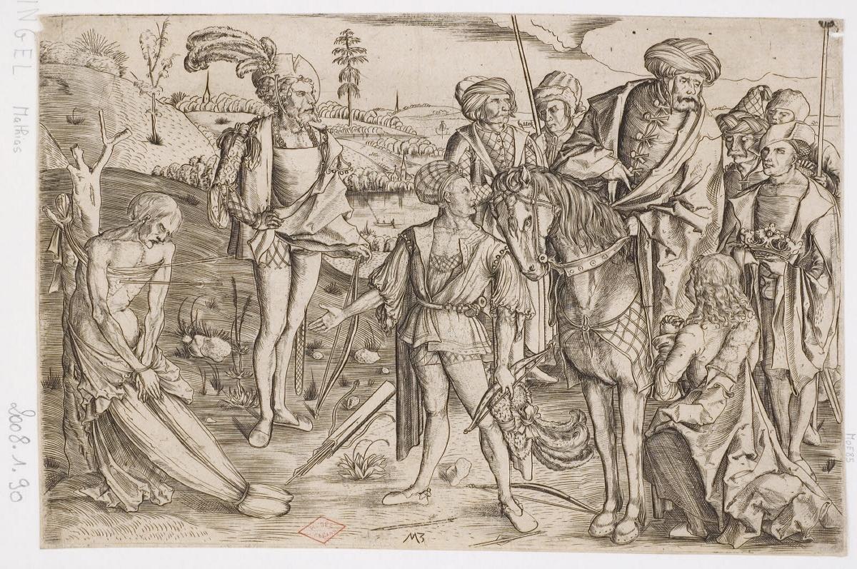 MAITRE AUX INITIALES M Z (graveur, inventeur, d'après) : Les trois fils du roi tirant sur le corps de leur père