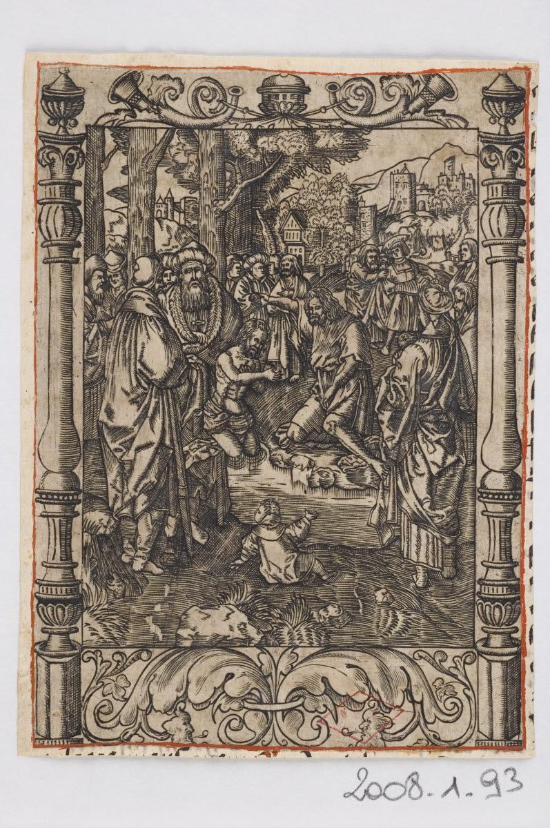 anonyme (graveur), LEYDEN Lucas van (inventeur, d'après) : Baptême du Christ