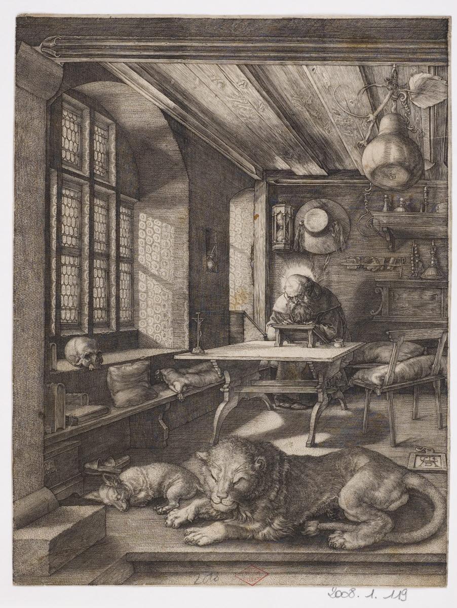DURER Albrecht (inventeur; d'après, graveur) : Saint Jérôme dans son étude