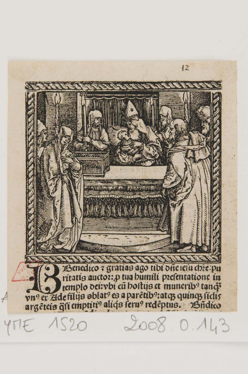anonyme (graveur), GRIMM Sigmund (imprimeur), WEIDITZ Hans I (inventeur), WIRSUNG Marx (imprimeur) : Présentation au Temple