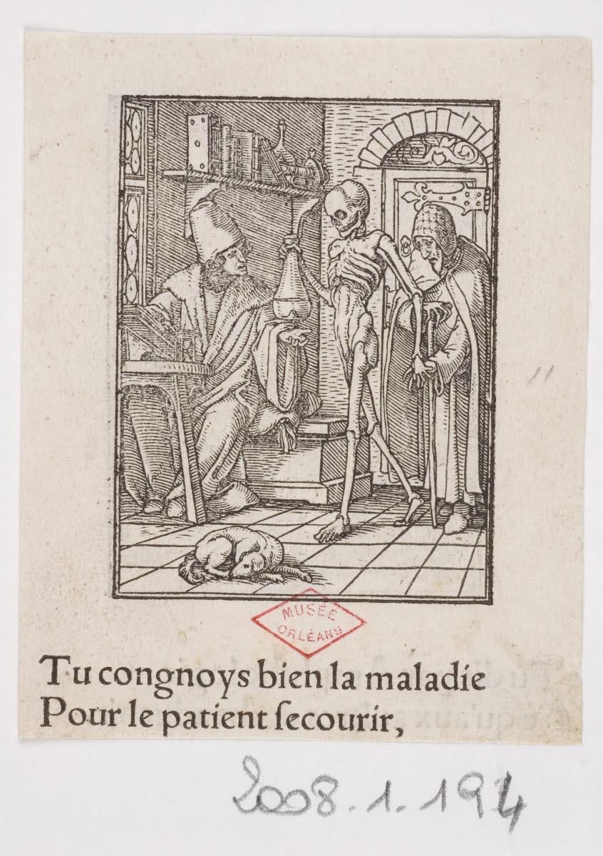 HOLBEIN Hans le Jeune (inventeur), LUTZELBURGER Hans (graveur), TRECHSEL Melchior (imprimeur), TRECHSEL Gaspard (imprimeur) : Le Médecin / L'Astrologue