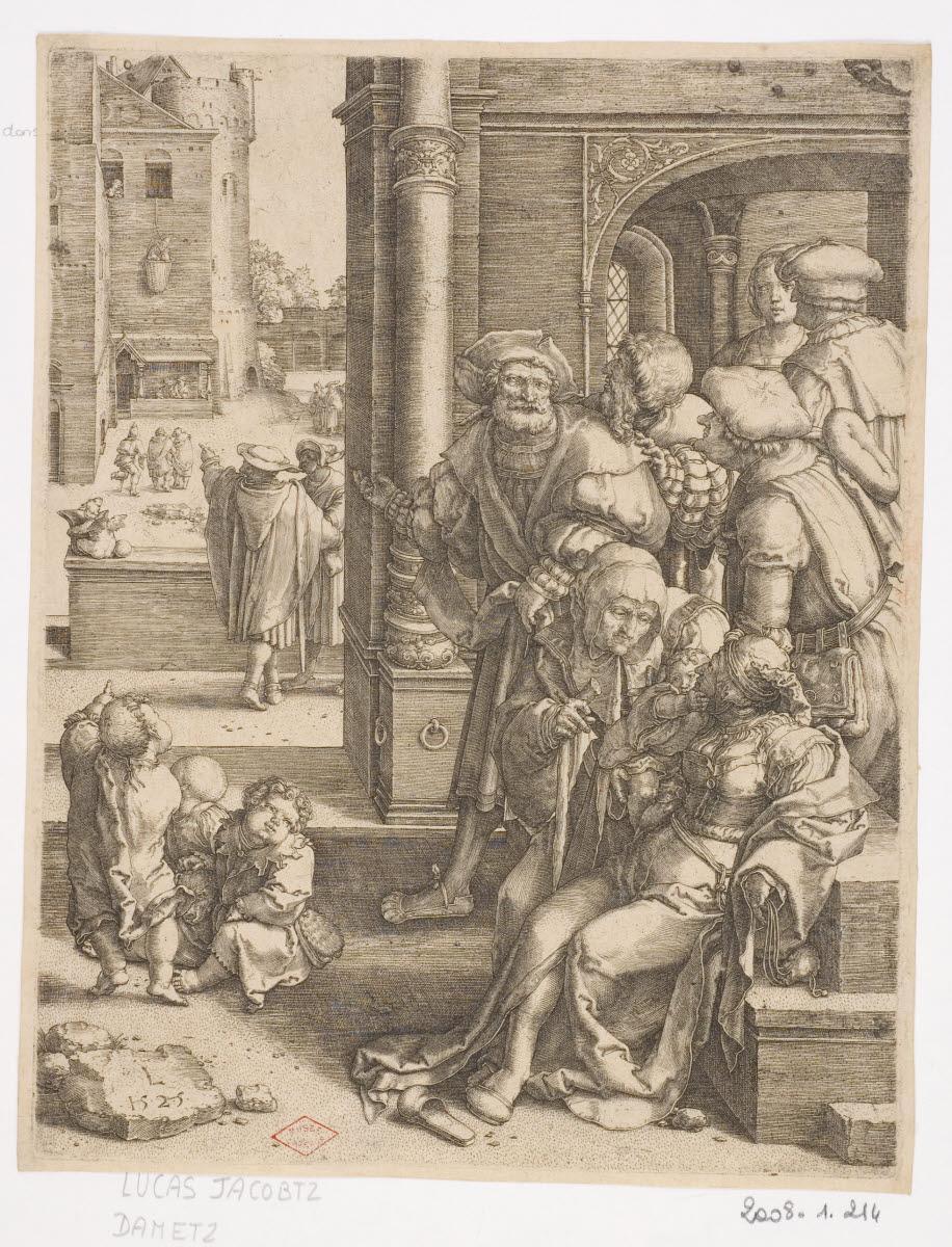 LEYDEN Lucas van (inventeur; graveur) : Le poète Virgile suspendu dans un panier