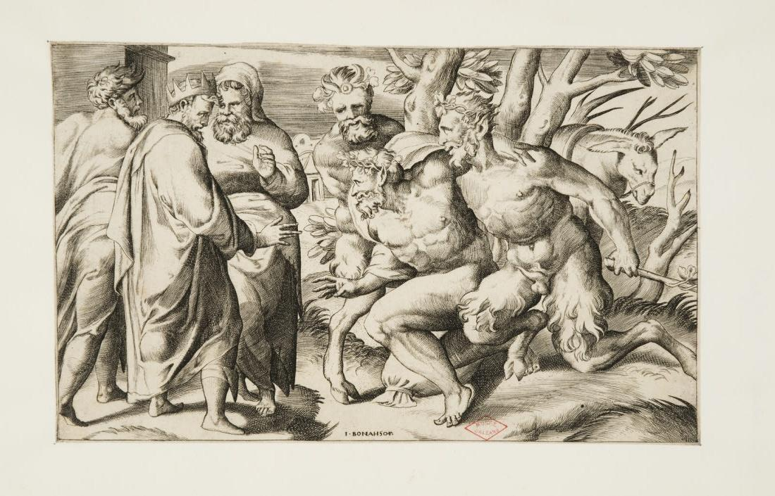 PERINO DEL VAGA (inventeur), BONASONE Giulio di Antonio (graveur) : Deux satyres amenant Silène au roi Midas