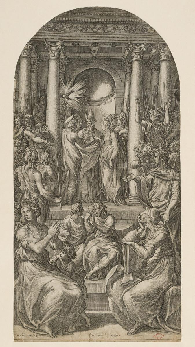 CARAGLIO Giovanni Jacopo (graveur), MAZZOLA Francesco (inventeur, d'après), LE PARMESAN (dit) : Le Mariage de la Vierge